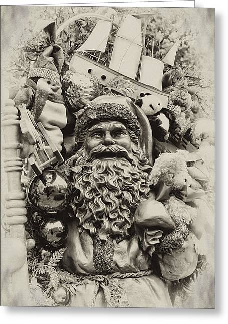 Nicholas Greeting Cards - Here Comes Santa Claus Greeting Card by Bill Cannon