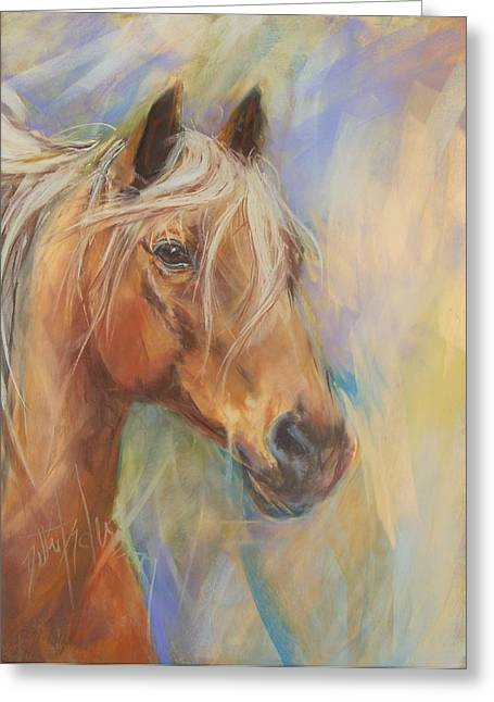 Stallion Pastels Greeting Cards - Here Comes Thunder Greeting Card by Debbie Anderson