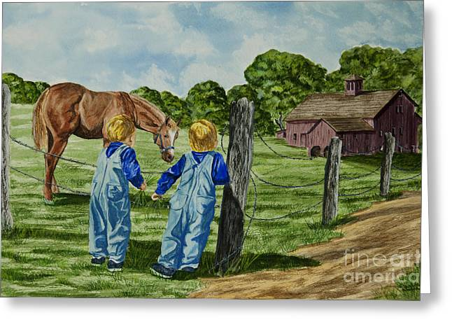 Country Dirt Roads Greeting Cards - Here Horsey Horsey Greeting Card by Charlotte Blanchard