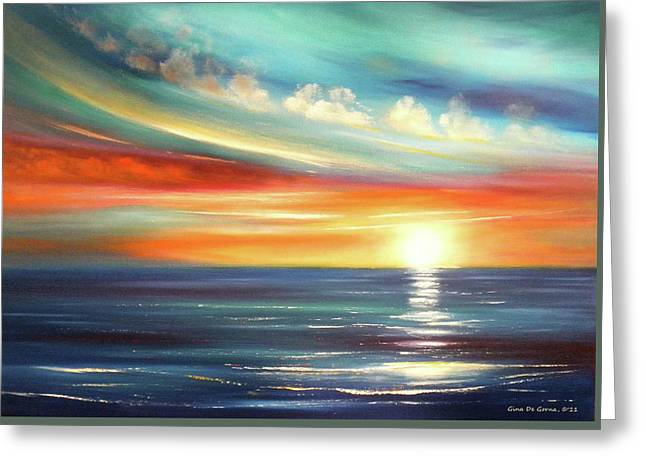 Sunset Posters Greeting Cards - Here It Goes Greeting Card by Gina De Gorna