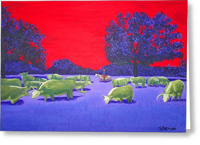 Hereford Herd Greeting Card by Randall Weidner