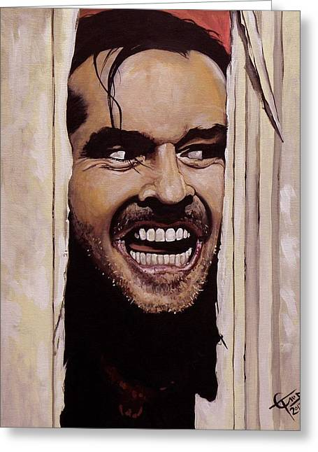 The Greeting Cards - Heres Johnny Greeting Card by Tom Carlton