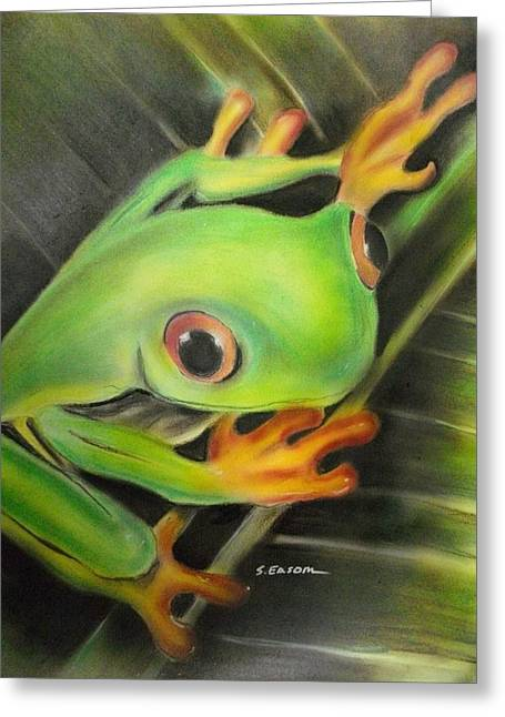 Amphibians Pastels Greeting Cards - Heres lookin At Ya Greeting Card by Scott Easom