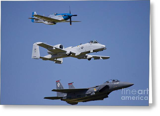 Heritage Flight Wings Over Whitman Greeting Card by Linda Gardner-Goos