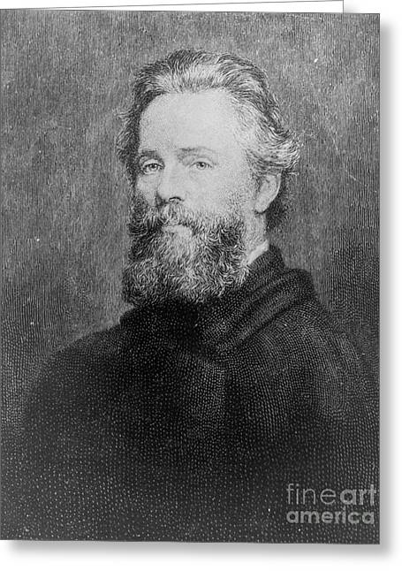 Moby Dick Greeting Cards - Herman Melville, American Author Greeting Card by Photo Researchers