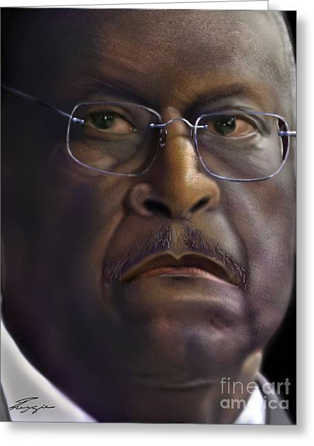 Gop Greeting Cards - Herman Razing Cain Greeting Card by Reggie Duffie