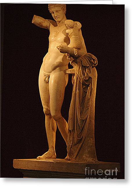 Greek Sculpture Greeting Cards - Hermes And The Infant Greeting Card by Bob Christopher