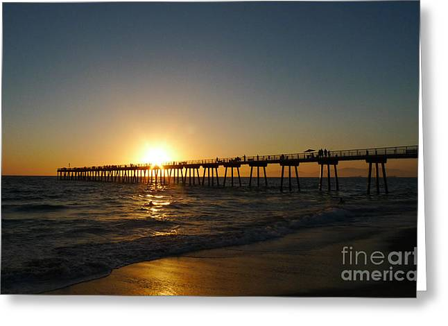 Hermosa Beach Sunset Greeting Card by Nina Prommer