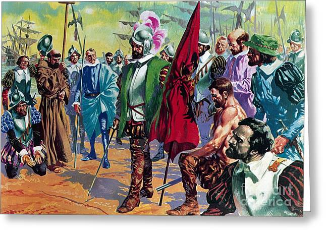 Rebellions Greeting Cards - Hernando Cortes arriving in Mexico in 1519 Greeting Card by English School