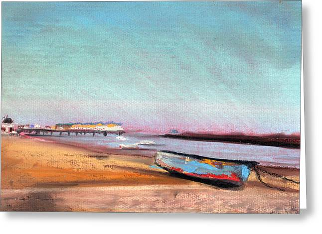 Sand Pastels Greeting Cards - Herne Bay Boat and Pier Greeting Card by Paul Mitchell