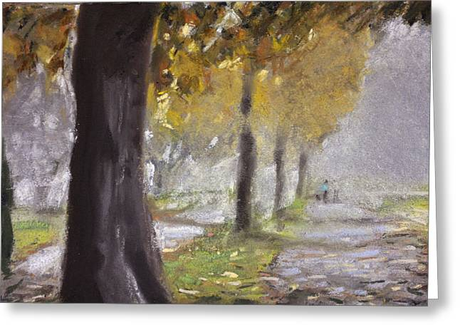 Fog Mist Pastels Greeting Cards - Herne Bay Park Fog 1 Greeting Card by Paul Mitchell
