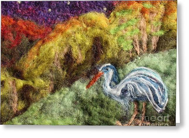 Wall-hanging Tapestries - Textiles Greeting Cards - Heron at Night Greeting Card by Nicole Besack