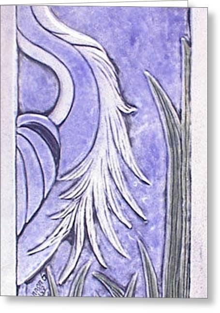 Great Ceramics Greeting Cards - Heron Ceramic tile Greeting Card by Shannon Gresham