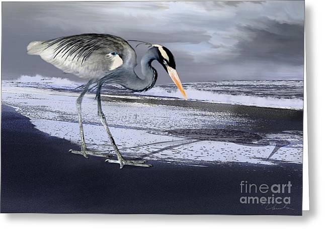 Storm Prints Digital Greeting Cards - Heron taking his afternoon Beach walk Greeting Card by Danuta Bennett