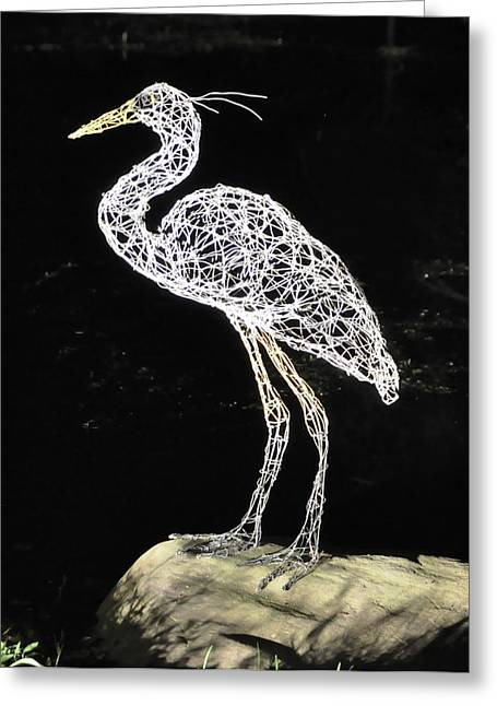 Weld Sculptures Greeting Cards - Heron Greeting Card by Tommy  Urbans