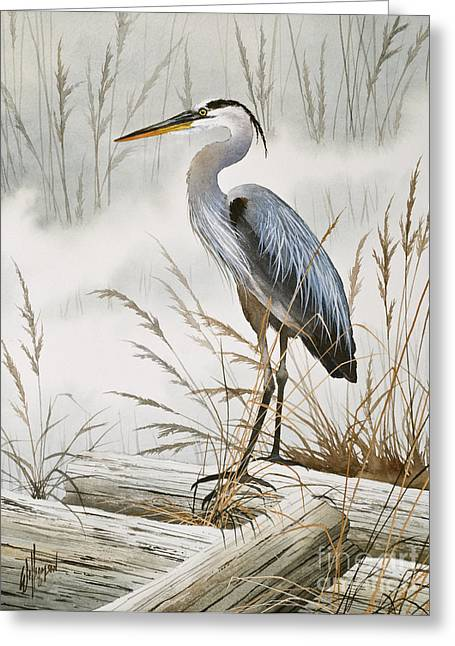 Shore Bird Print Greeting Cards - Herons Misty Shore Greeting Card by James Williamson