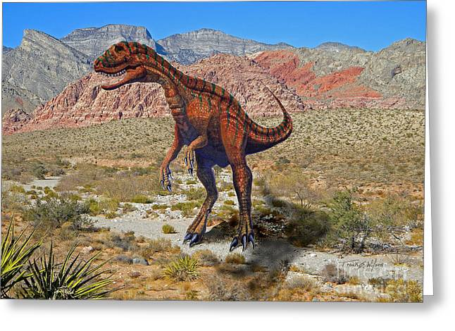 Dinosaurs Greeting Cards - Herrarsaurus In Desert Greeting Card by Frank Wilson
