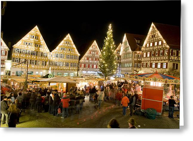 Town Square Greeting Cards - Herrenberg Christmas Market At Night Greeting Card by Greg Dale