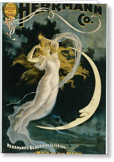 Herrmann Maid Of The Moon Greeting Card by Unknown