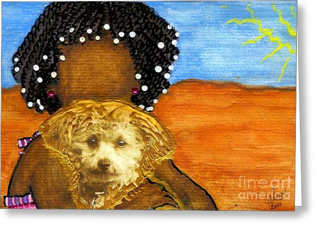 He's My Very Best Friend Greeting Card by Angela L Walker
