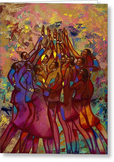 African-american Paintings Greeting Cards - Hes Worthy To Be Praised  Greeting Card by Larry Poncho Brown