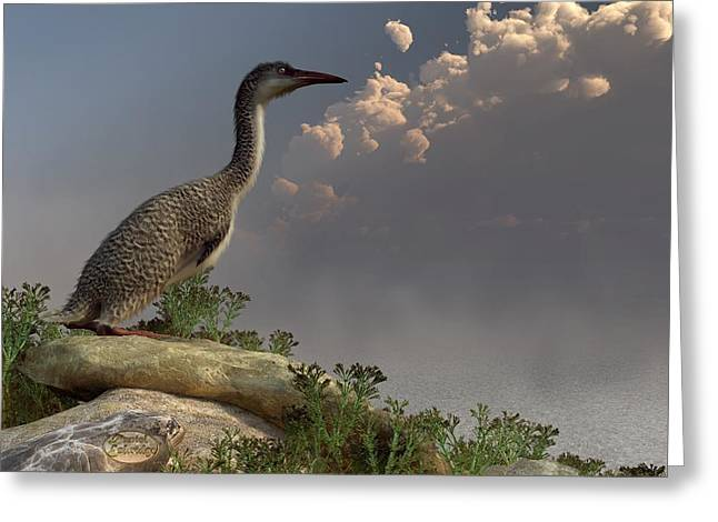 Hesperornis by the Sea Greeting Card by Daniel Eskridge