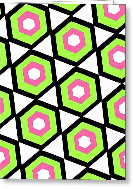 Bold Style Greeting Cards - Hexagon Greeting Card by Louisa Knight