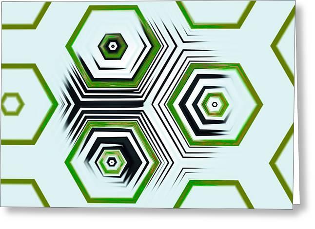 Postmodern Greeting Cards - Hexagonal Greeting Card by Hakon Soreide