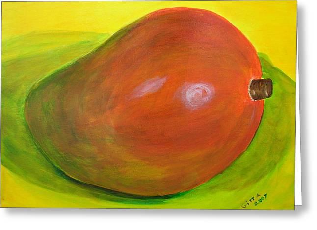 Mango Greeting Cards - Hey Mango Greeting Card by Gitta Brewster
