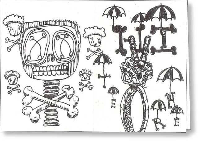 Raw Drawings Greeting Cards - Hi There Greeting Card by Robert Wolverton Jr