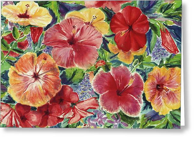 Red Art Pastels Greeting Cards - Hibiscus Impressions Greeting Card by Patti Bruce - Printscapes