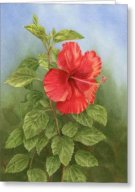 Hibiscus Greeting Card by Leona Jones