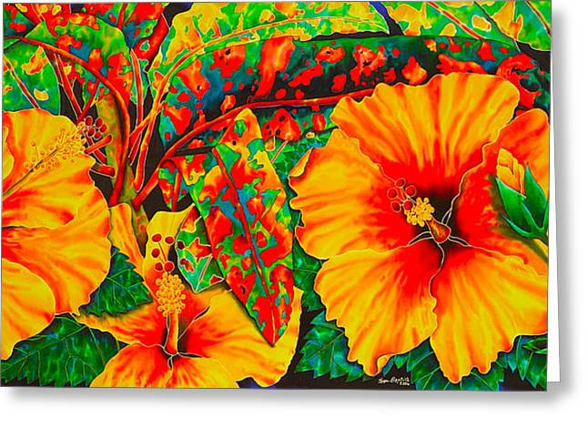 Stretched Canvas Tapestries - Textiles Greeting Cards - Hibiscus with Crotons Greeting Card by Daniel Jean-Baptiste