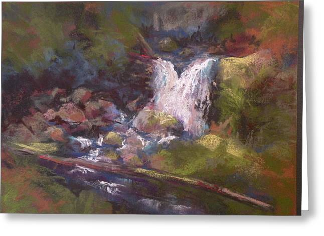 Waterfall Pastels Greeting Cards - Hidden Falls Greeting Card by Jo Ann Sullivan