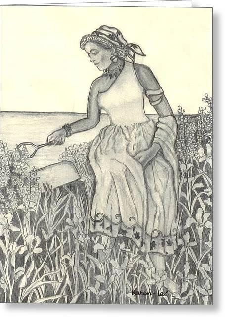African-american Drawings Greeting Cards - Hidden Greeting Card by Karen-Lee