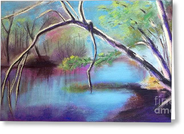 River View Pastels Greeting Cards - Hidden River At Sharon Mills Greeting Card by Yoshiko Mishina