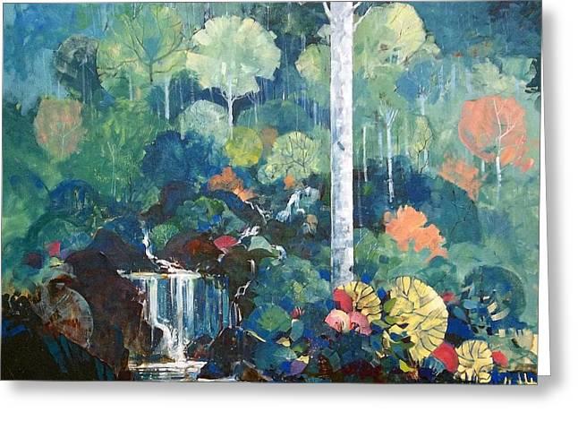 Hidden Waterfall Greeting Card by Micheal Jones