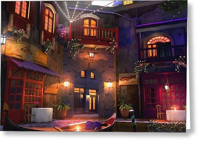 Pirates Greeting Cards - Hideaway Cafe Greeting Card by Joel Payne