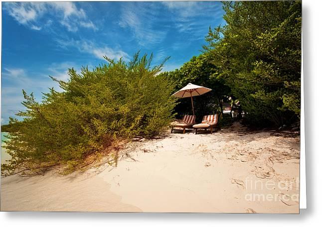 Rainbow Umbrella Greeting Cards - Hideaway. Maldivian Beach Greeting Card by Jenny Rainbow