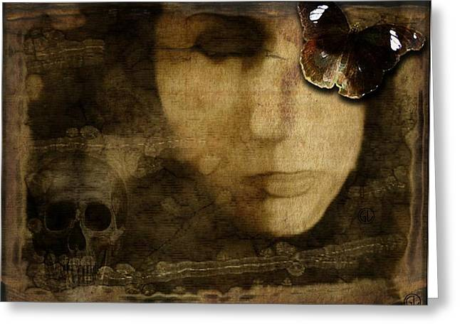 Woman Head Greeting Cards - Hiding behind beauty Greeting Card by Gun Legler
