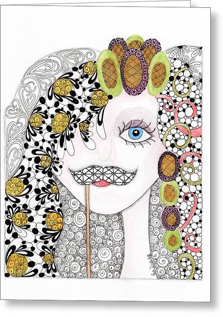Teen Fashion Greeting Cards - Hiding Behind the Mustache Greeting Card by Paula Dickerhoff