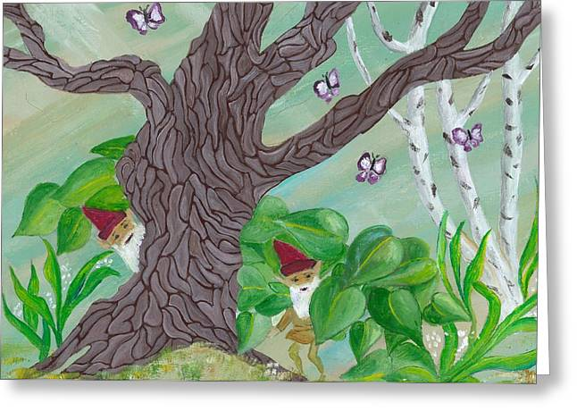 Gnarly Paintings Greeting Cards - Hiding Gnomes Greeting Card by Gail Peltomaa