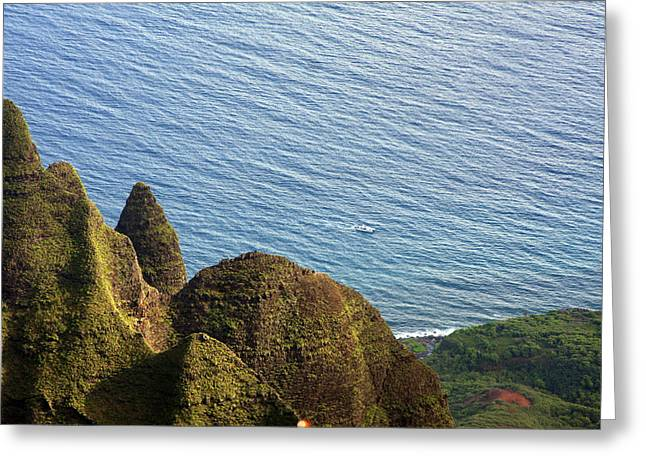 Napali Greeting Cards - High above Napali Greeting Card by Jeff Bord