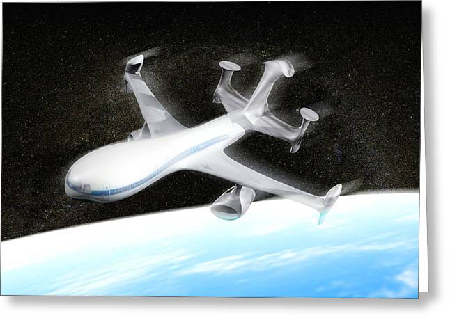 High Altitude Passenger Plane, Artwork Greeting Card by Christian Darkin