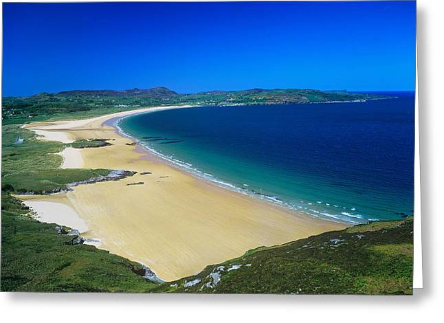 Sea Grass In The Sand Greeting Cards - High Angle View Of A Coastline Greeting Card by The Irish Image Collection
