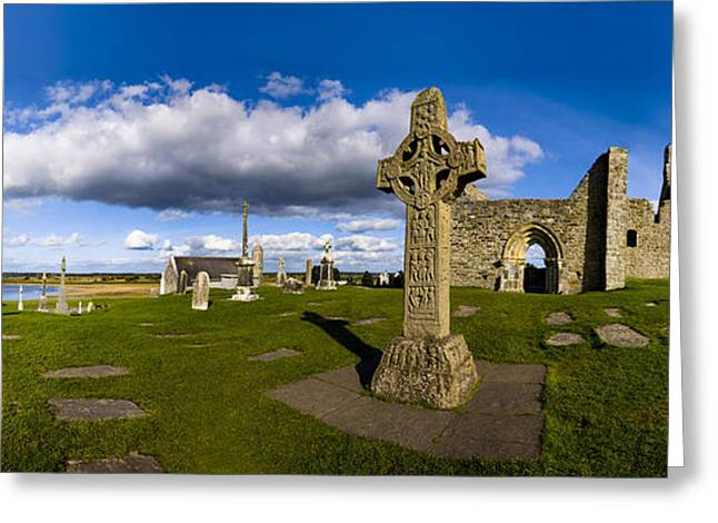 Rourke Greeting Cards - High Cross In An Clonmacnoise Ancient Greeting Card by Chris Hill