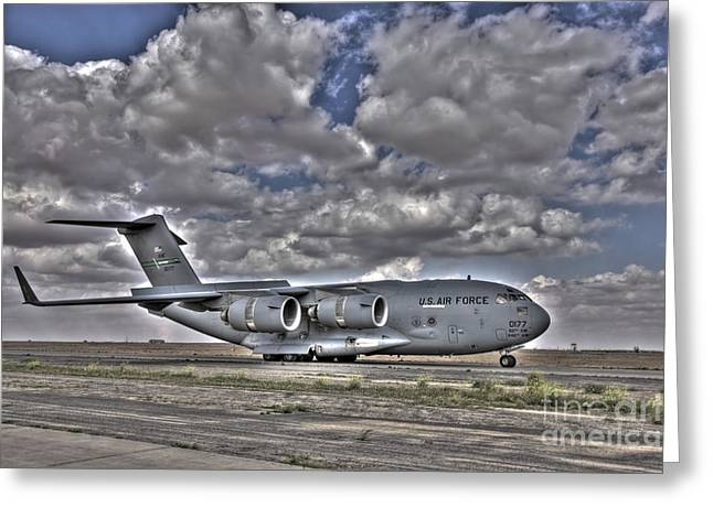 Cargo Aircraft Greeting Cards - High Dynamic Range Image Of A C-17 Greeting Card by Terry Moore