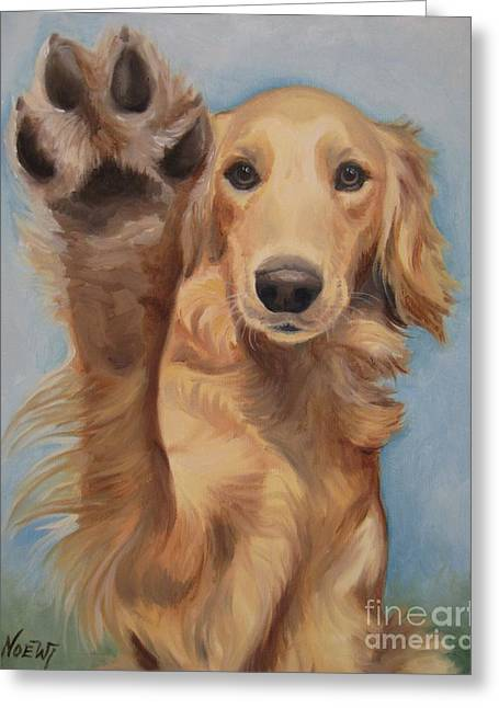 Puppies Paintings Greeting Cards - High Five Greeting Card by Jindra Noewi