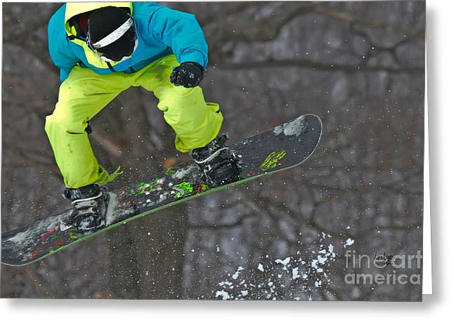 Snowboard Greeting Cards - High Flyin Greeting Card by Lois Bryan