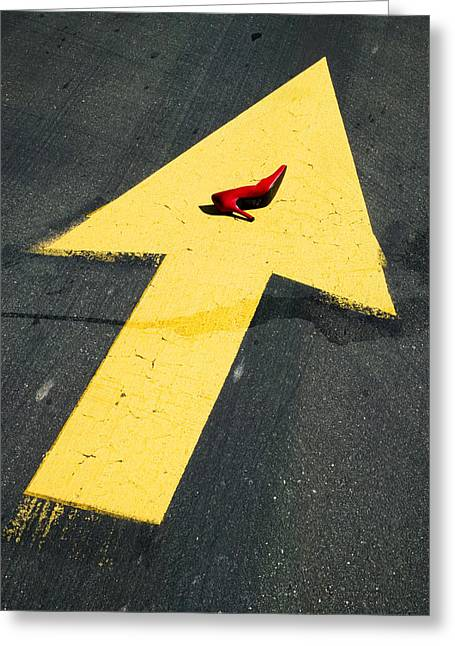 Roadway Photographs Greeting Cards - High heel and arrow Greeting Card by Garry Gay